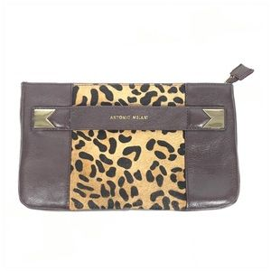 Antonio Melani Leather Calf Hair Brown Clutch